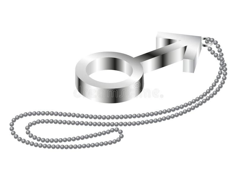 Sinal masculino do metal com corrente do metal ilustração do vetor