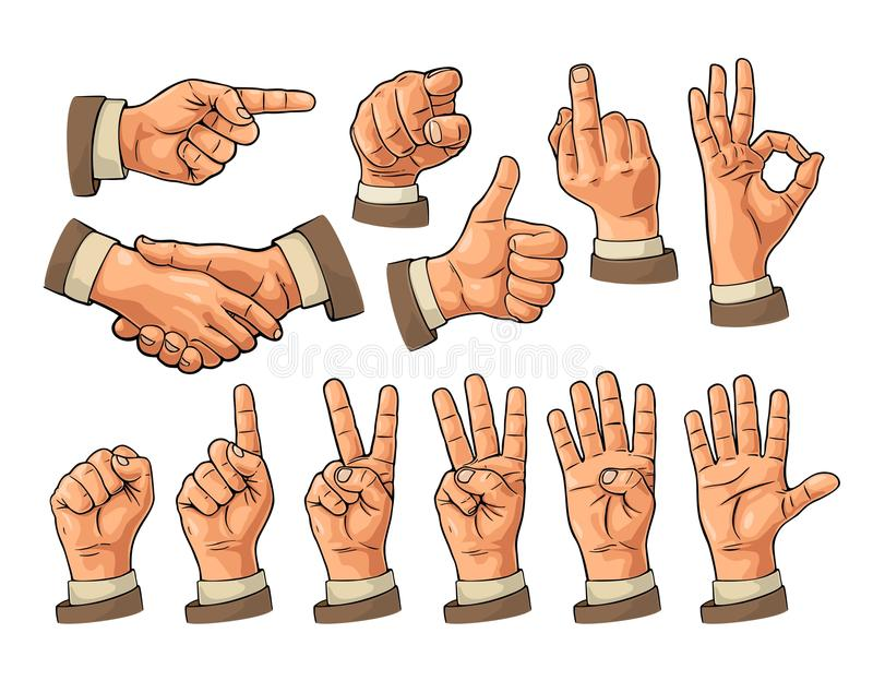 Sinal masculino e fêmea da mão Punho, como, apontar, aprovado, paz, ilustração do vetor