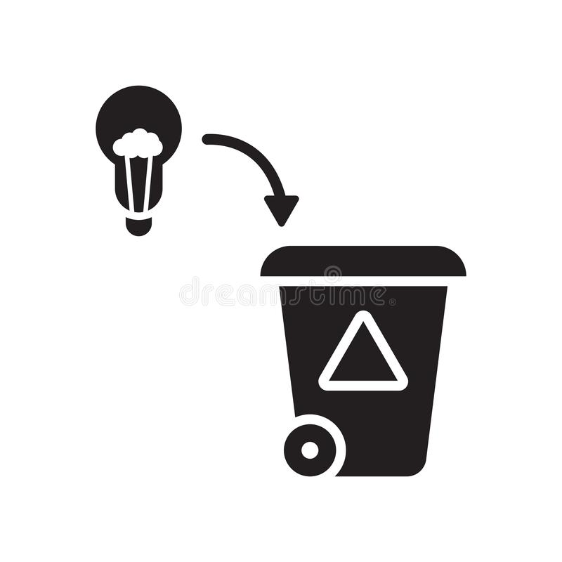 Sinal mau e símbolo do vetor do ícone da ideia isolados no fundo branco, conceito mau do logotipo da ideia ilustração royalty free