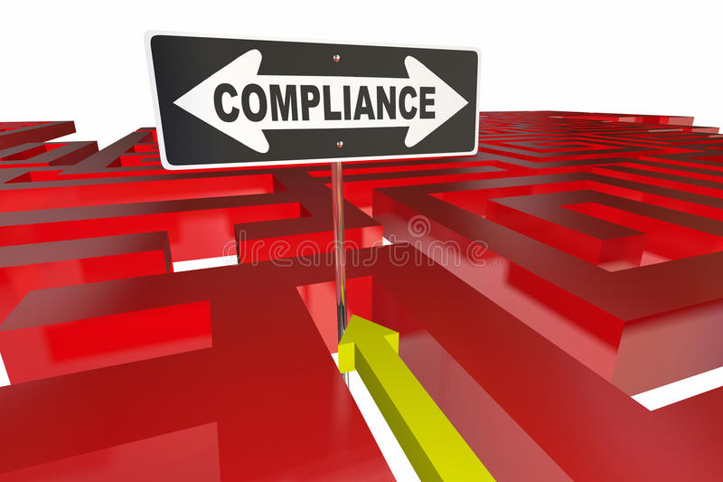 Sinal Maze Follow Rules Regulations da conformidade ilustração stock