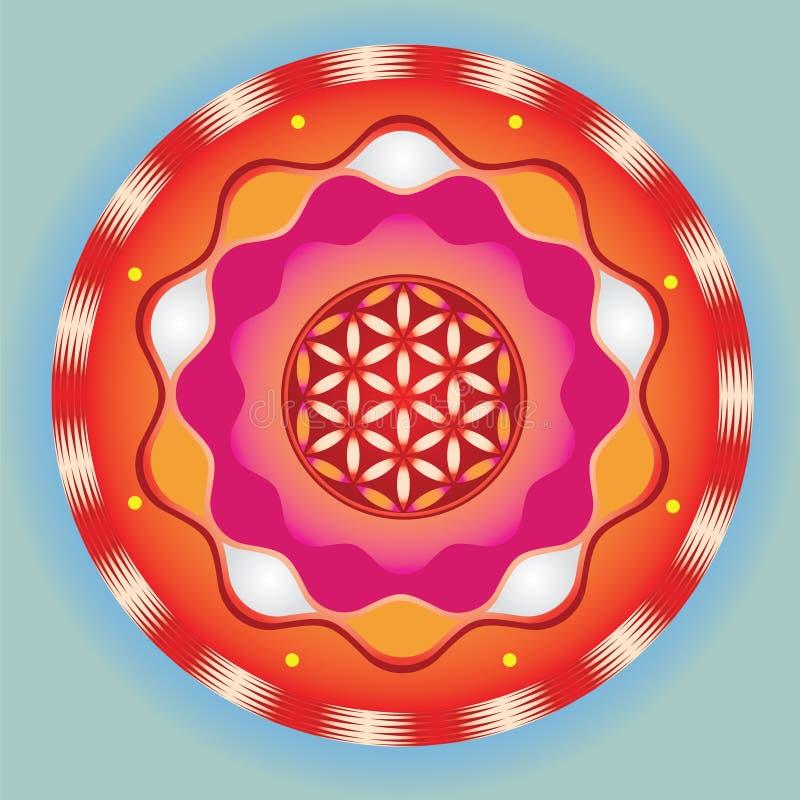 Sinal meditative brilhante da semente da vida   ilustração do vetor