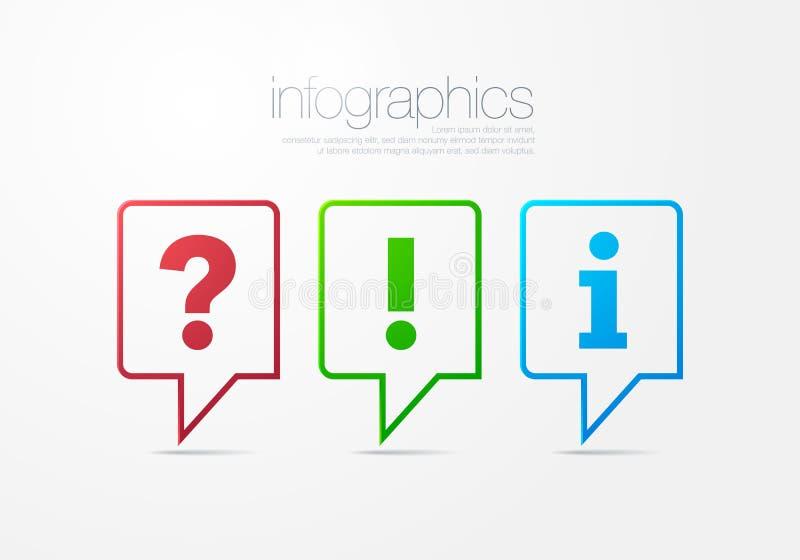 Sinal moderno da pergunta, da resposta e da informação do FAQ da bolha do discurso do esboço do vetor três ilustração royalty free