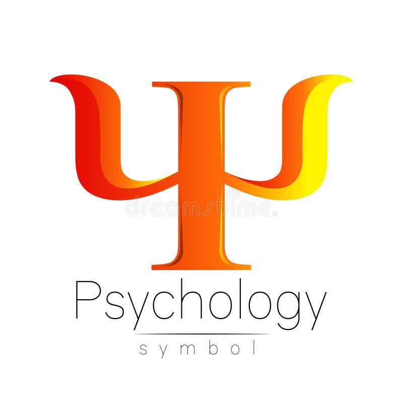Sinal moderno da psicologia psi Estilo creativo Ícone no vetor Conceito de projeto Empresa do tipo Letra alaranjada da cor sobre ilustração do vetor