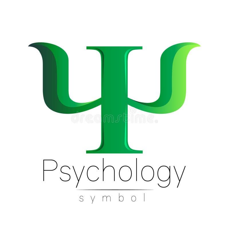 Sinal moderno da psicologia psi Estilo creativo Ícone no vetor Conceito de projeto Empresa do tipo Letra da cor verde sobre ilustração do vetor