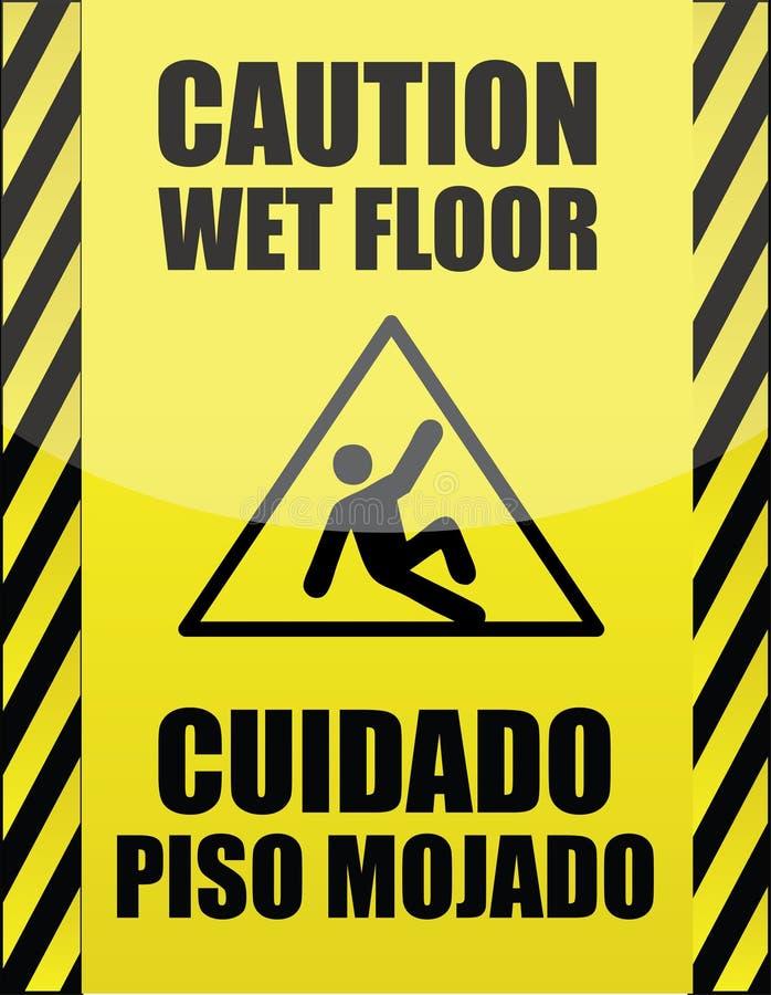 Sinal molhado inglês e espanhol do assoalho ilustração do vetor