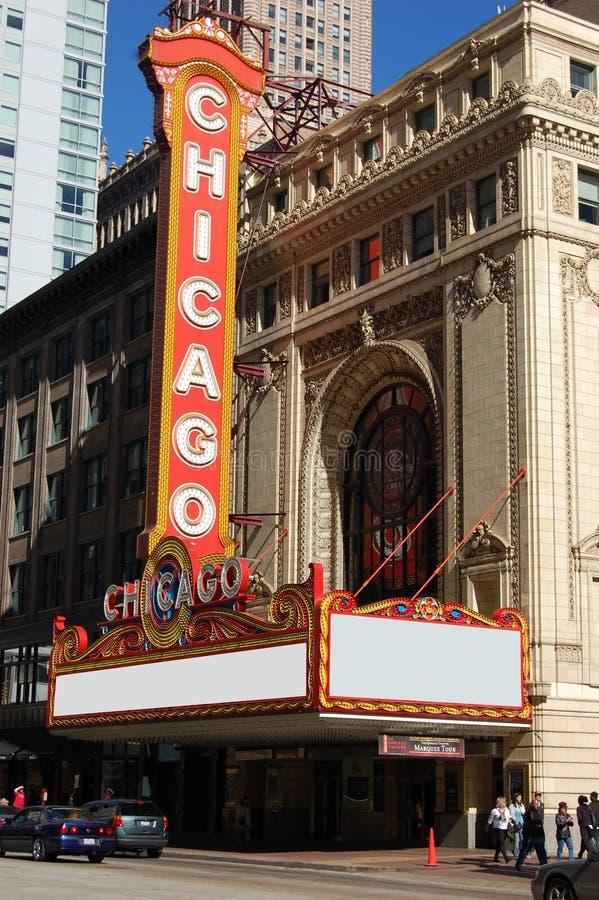 Sinal mundialmente famoso do teatro de Chicago do marco imagem de stock
