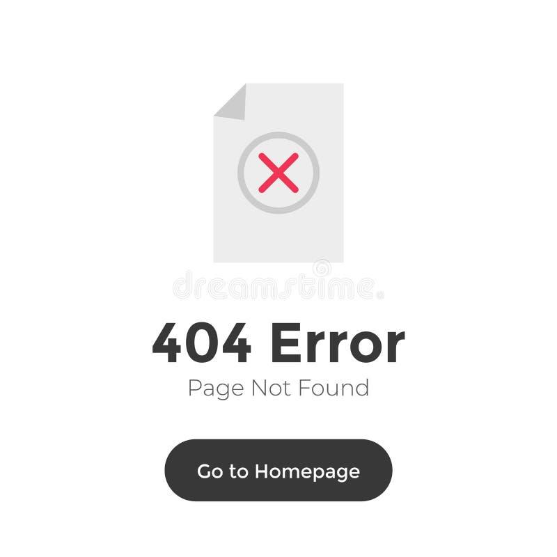 sinal não encontrado da página de 404 erros no fundo branco Mensagem de advertência do Web site do molde no estilo liso ilustração royalty free