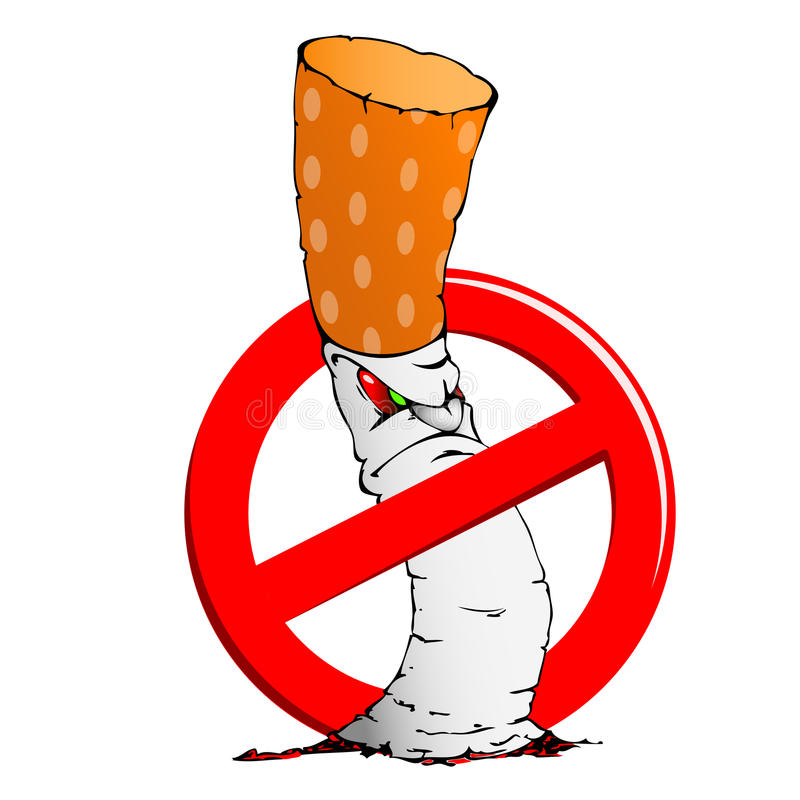Sinal não fumadores com um cigarro fotografia de stock royalty free