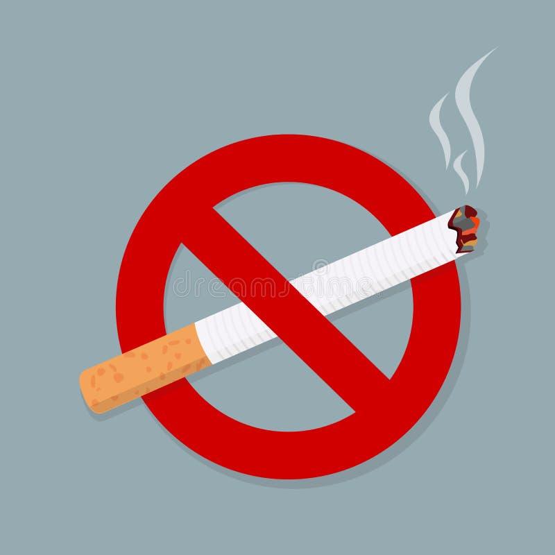 Sinal não fumadores isolado no fundo cinzento ilustração stock