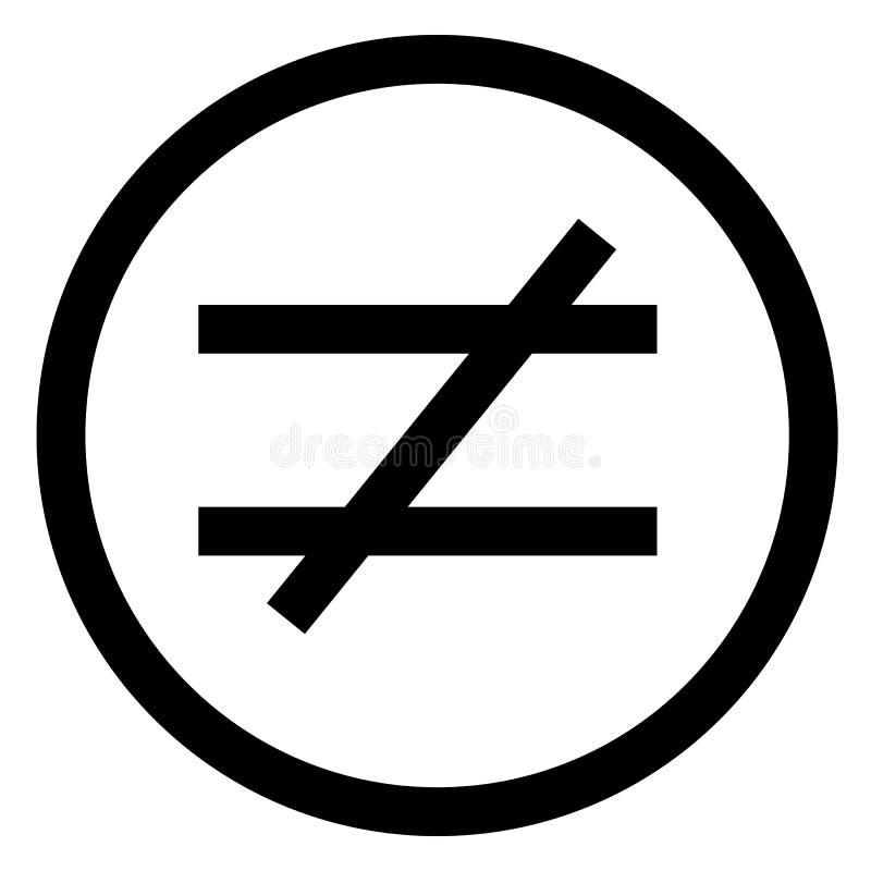 Sinal não igual Estilo liso ilustração não igual do ícone isolada ilustração do vetor