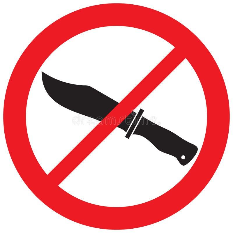 Sinal não permitido da faca ilustração royalty free