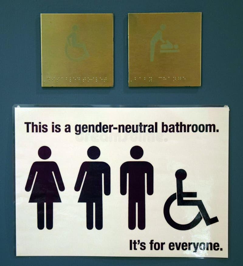 Sinal não sexista do banheiro imagens de stock