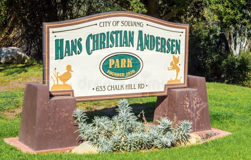 Sinal na entrada a Hans Christian Andersen Park fotografia de stock