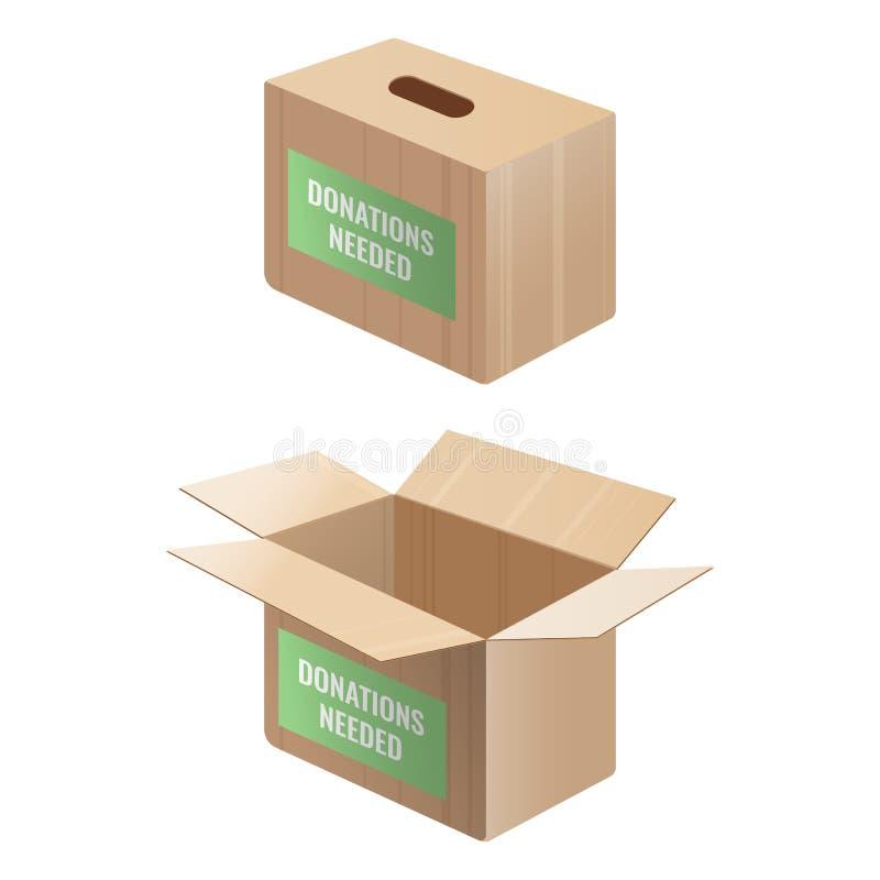 Sinal necessário das doações na caixa de madeira e de cartão ilustração royalty free