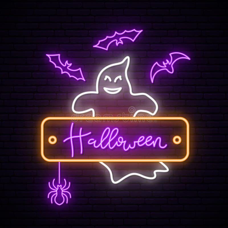 sinal Neon Ghost ilustração stock