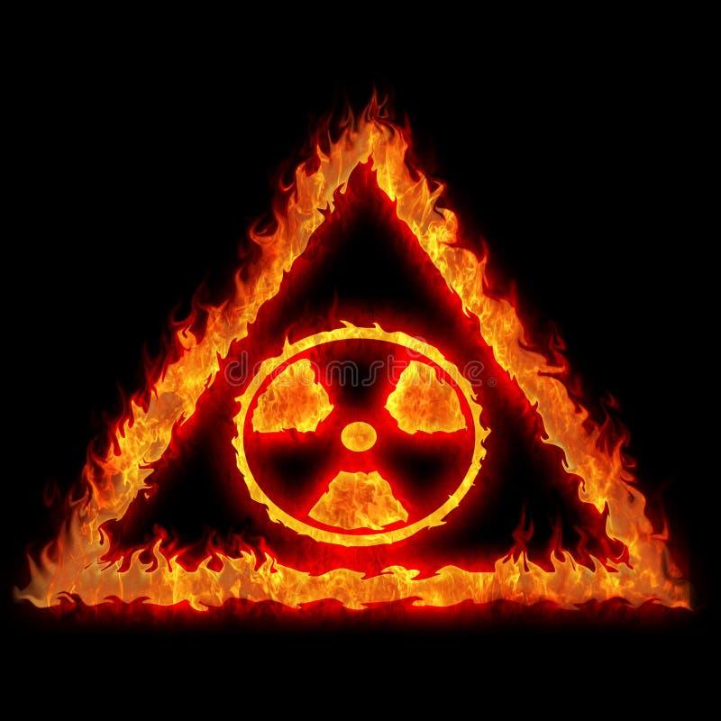 Sinal nuclear ardente do perigo ilustração stock