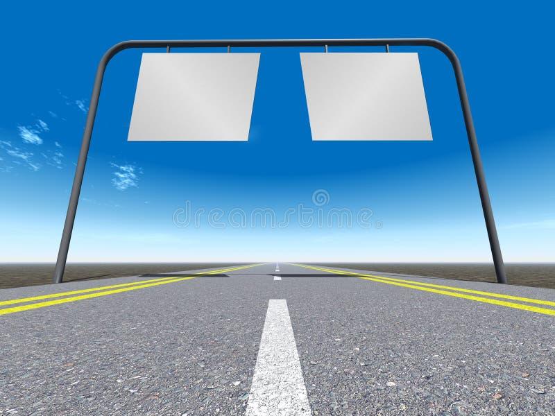 Sinal - o deslocamento predeterminado na estrada ilustração stock