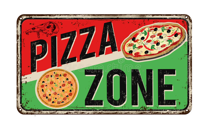 Sinal oxidado do metal do vintage da zona da pizza ilustração do vetor