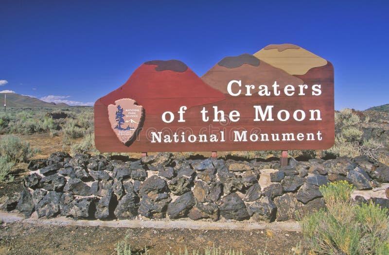 Sinal para crateras do monumento nacional da lua, Idaho imagens de stock