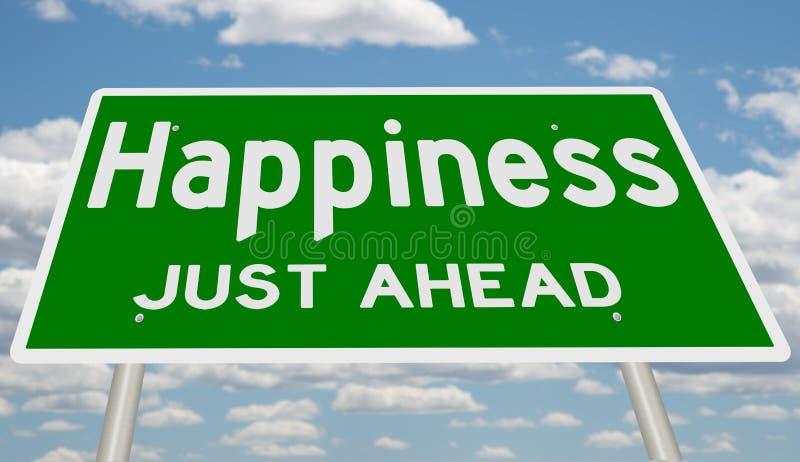 Sinal para a felicidade apenas adiante ilustração royalty free
