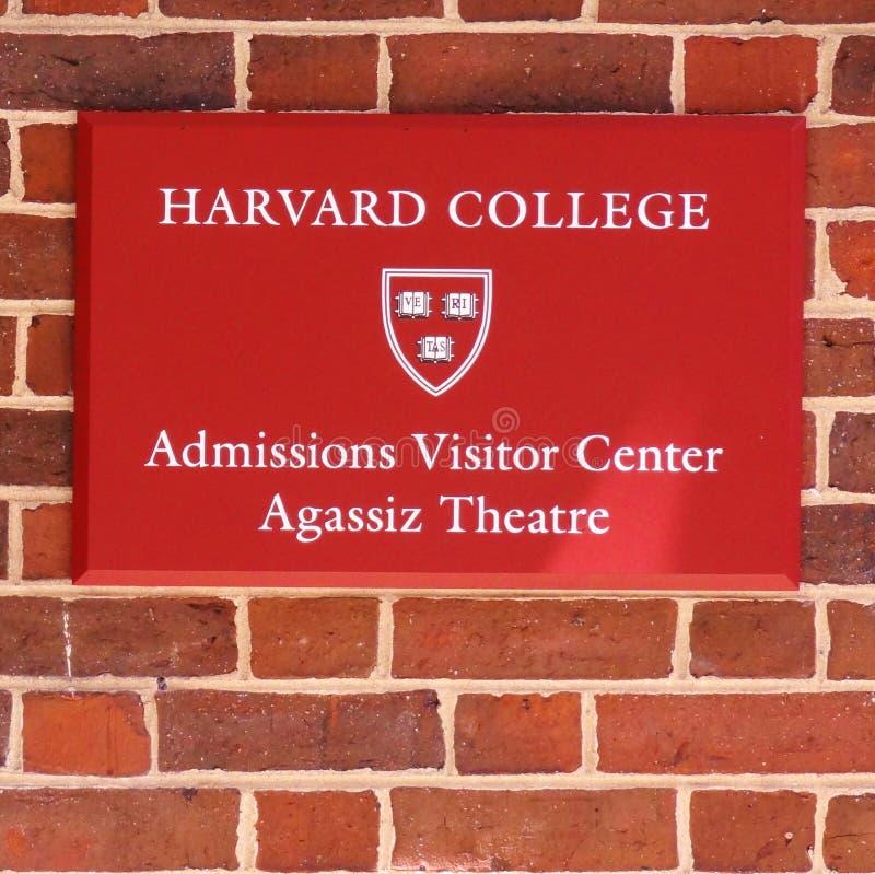 Sinal para o escritório das admissões na Universidade de Harvard fotografia de stock