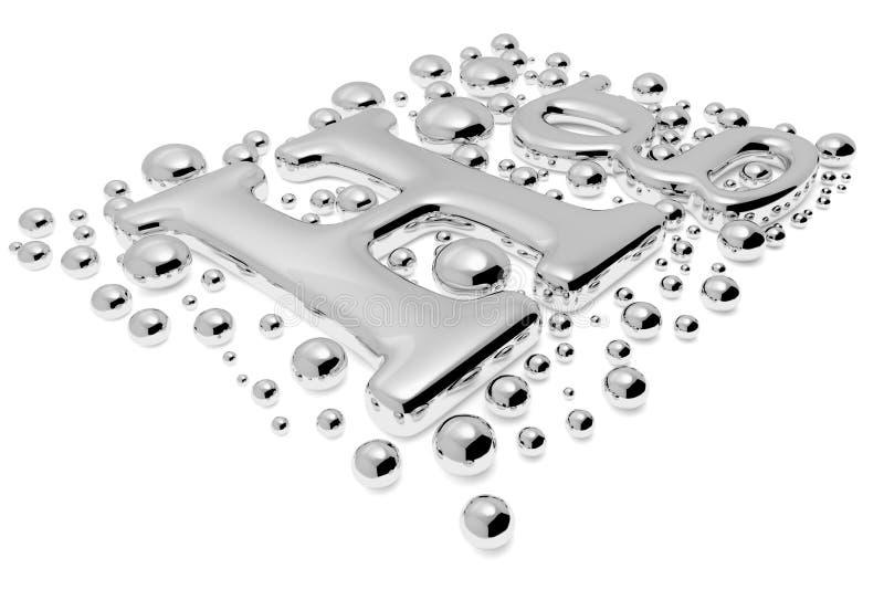 Sinal pequeno do metal do hectograma do mercúrio com opinião da diagonal das gotas ilustração do vetor