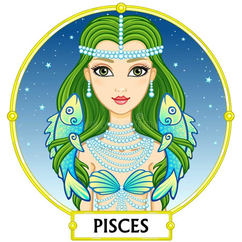 Sinal pisces do zodíaco ilustração royalty free