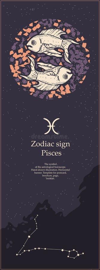Sinal pisces do zod?aco O símbolo do horóscopo astrológico Face das mulheres Hand-drawn de illustration Bandeira vertical Molde p ilustração do vetor