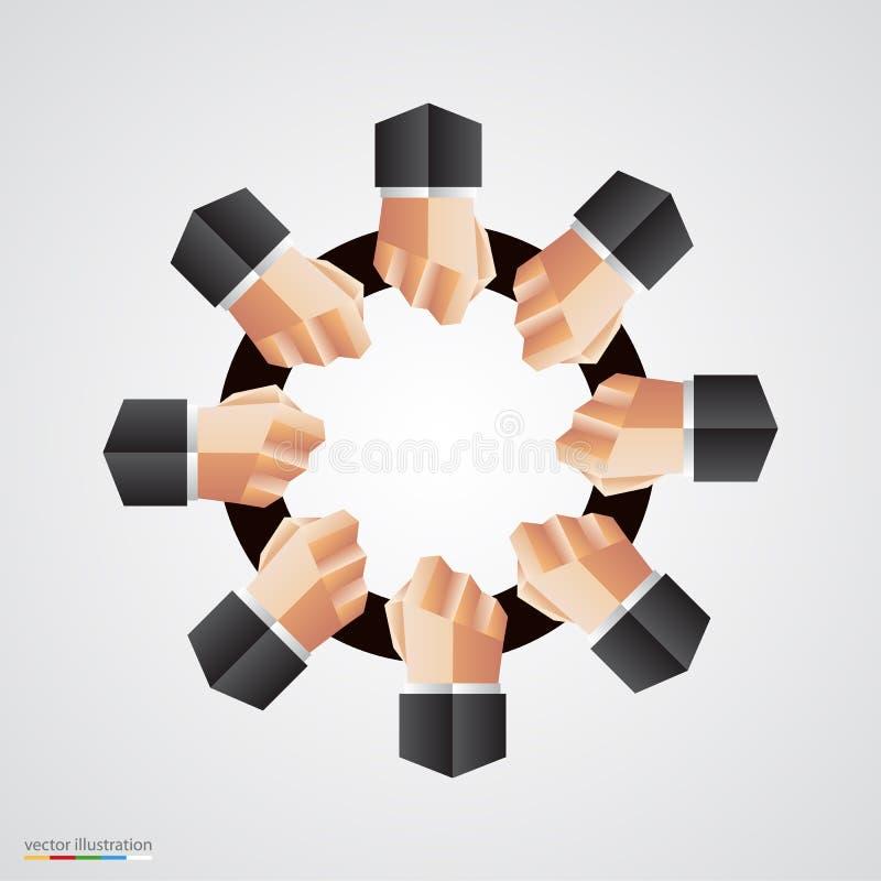 Sinal poligonal da comunidade do círculo da mão ilustração royalty free