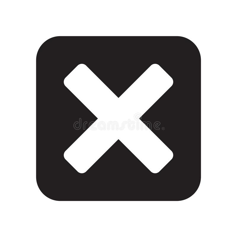 Sinal próximo e símbolo do vetor do ícone isolados no fundo branco, conceito próximo do logotipo ilustração do vetor