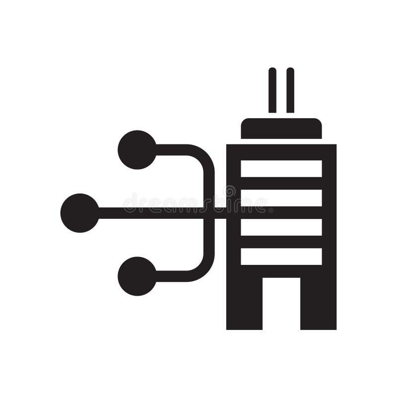 Sinal prendido e símbolo do vetor do ícone da silhueta da conexão isolados no fundo branco, conceito prendido do logotipo da silh ilustração royalty free