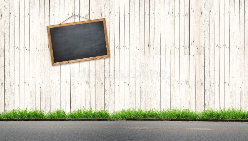 Sinal preto do quadro na madeira branca imagens de stock