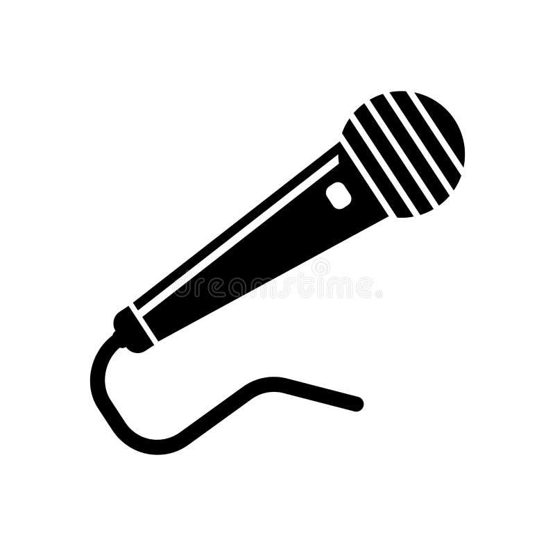 Sinal preto e símbolo do vetor do ícone da forma do microfone isolados em w ilustração royalty free