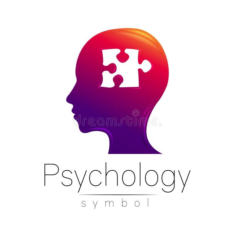 Sinal principal moderno da psicologia Enigma Ser humano do perfil Estilo creativo Símbolo no vetor Conceito de projeto Empresa do ilustração stock