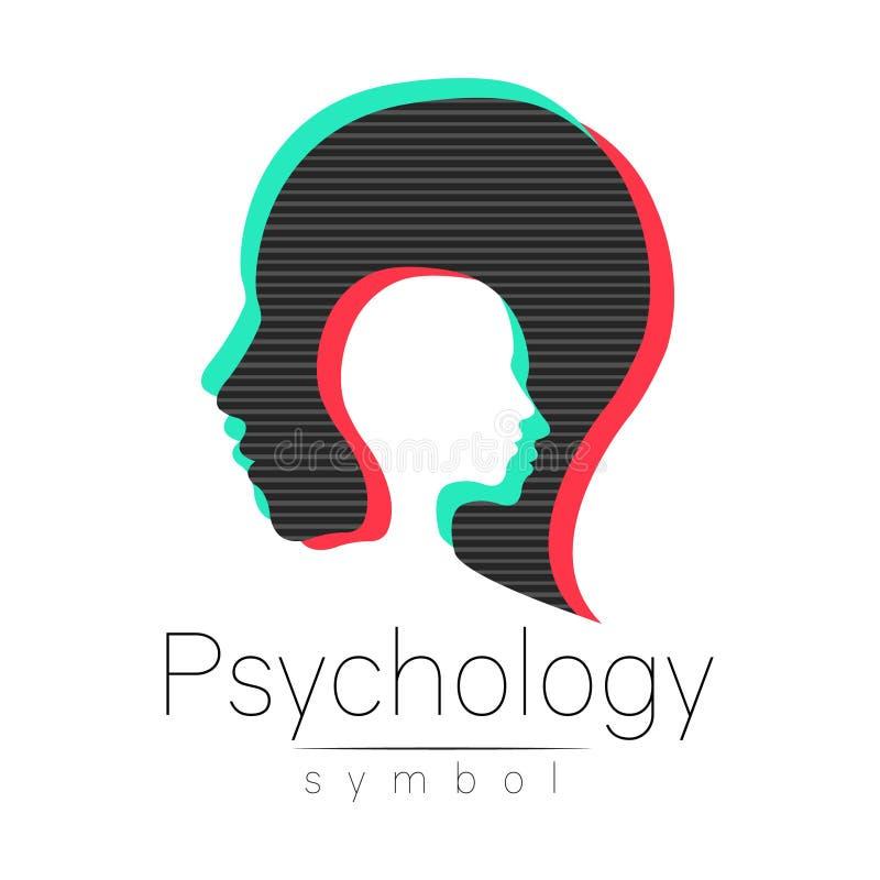 Sinal principal moderno da psicologia Ser humano do perfil Efeito do pulso aleatório Símbolo no vetor Conceito de projeto Empresa ilustração royalty free