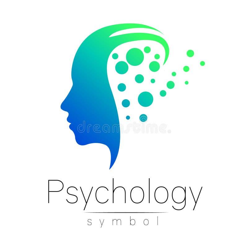 Sinal principal moderno da psicologia Ser humano do perfil Estilo creativo Símbolo no vetor Cor verde azul isolada no branco ilustração do vetor
