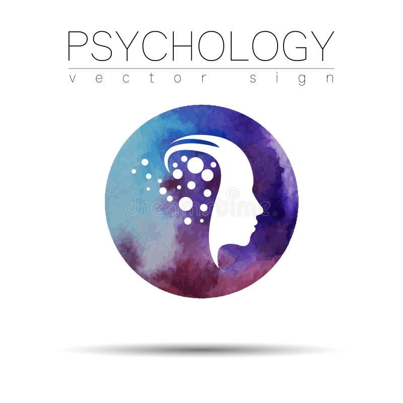 Sinal principal moderno da psicologia Ser humano do perfil Estilo da aguarela Símbolo no vetor Conceito de projeto Mancha violeta ilustração royalty free