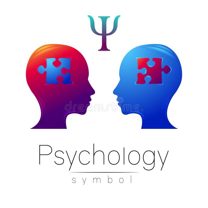 Sinal principal moderno da psicologia Ser humano do perfil Letra libra por polegada quadrada Enigma Estilo creativo Símbolo no ve ilustração royalty free