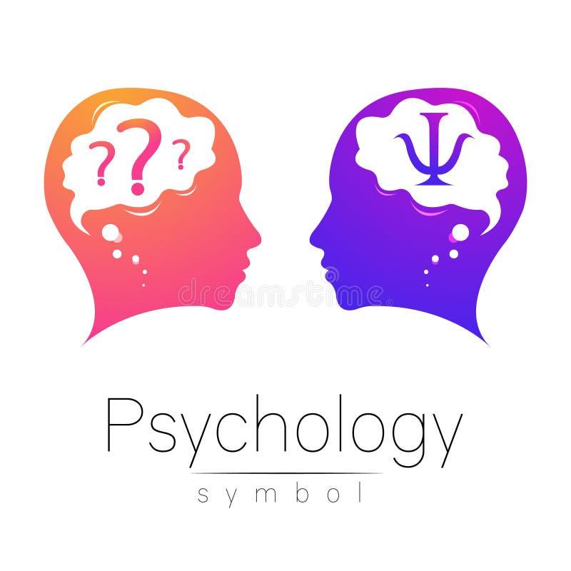 Sinal principal moderno da psicologia Ser humano do perfil Letra libra por polegada quadrada Estilo creativo Símbolo no vetor Con ilustração royalty free