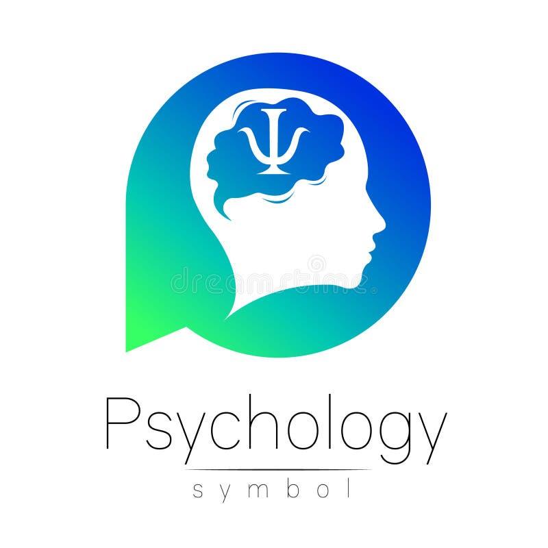Sinal principal moderno da psicologia Ser humano em um círculo Estilo creativo Ícone no vetor Empresa do tipo do projeto Verde az ilustração do vetor