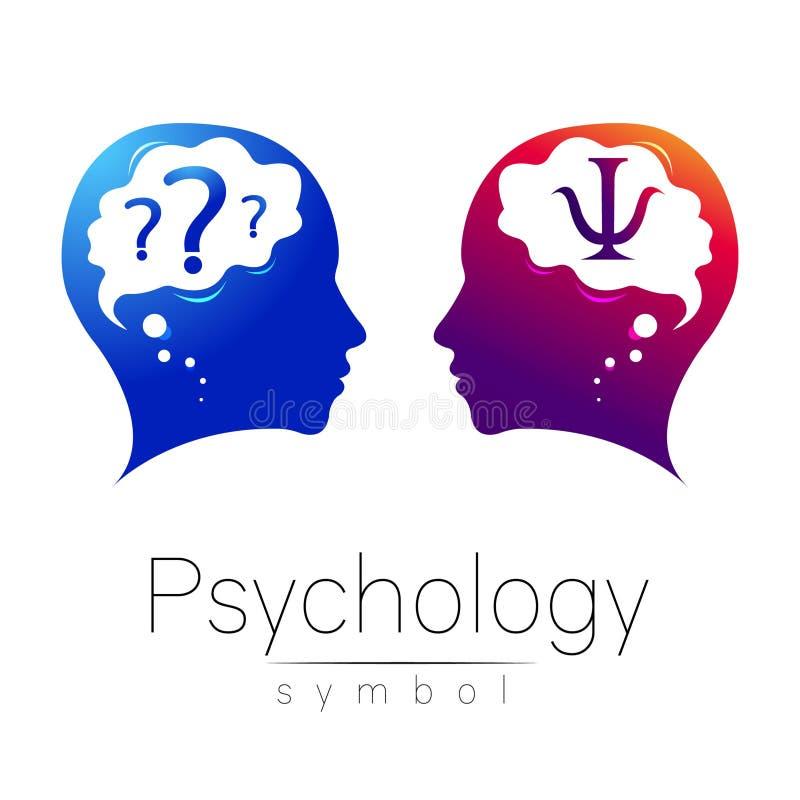 Sinal principal moderno do logotipo da psicologia Ser humano do perfil Letra libra por polegada quadrada Estilo creativo ilustração royalty free