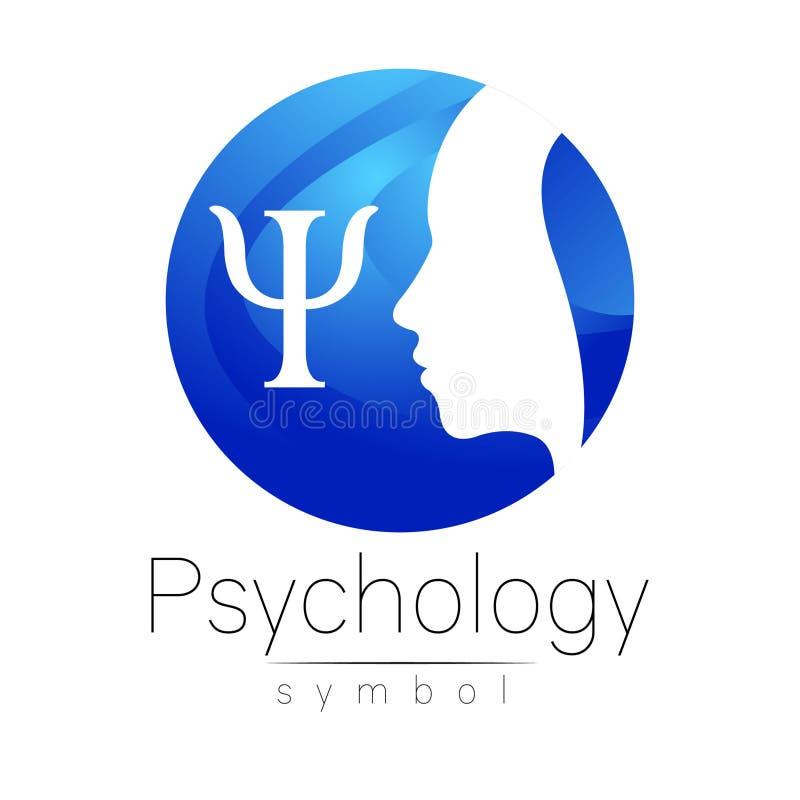 Sinal principal moderno do logotipo da psicologia Ser humano do perfil Letra libra por polegada quadrada Estilo creativo ilustração stock