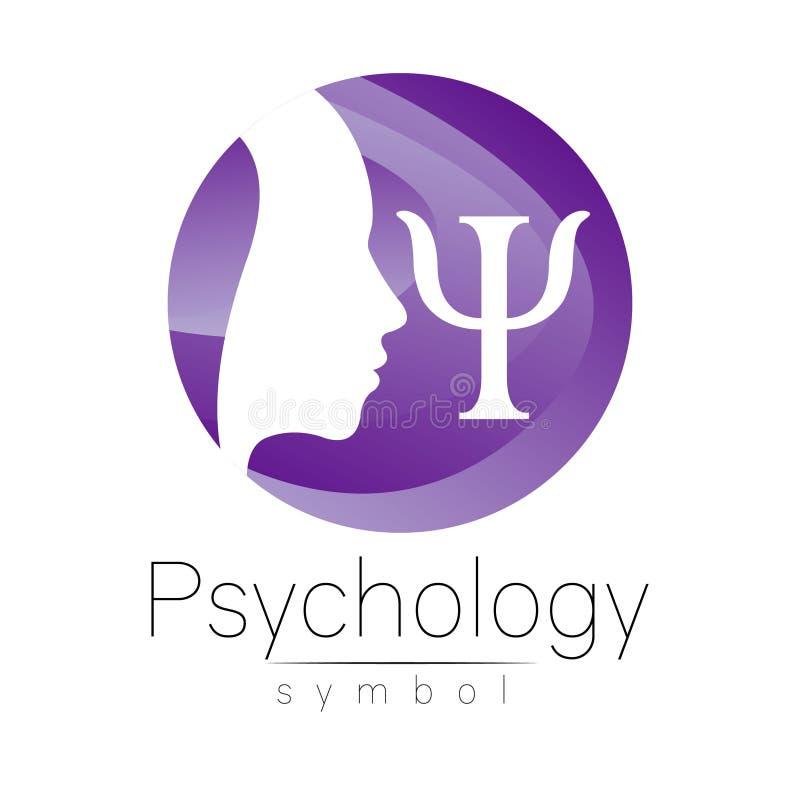 Sinal principal moderno do logotipo da psicologia Ser humano do perfil Letra libra por polegada quadrada Estilo creativo Símbolo  ilustração do vetor