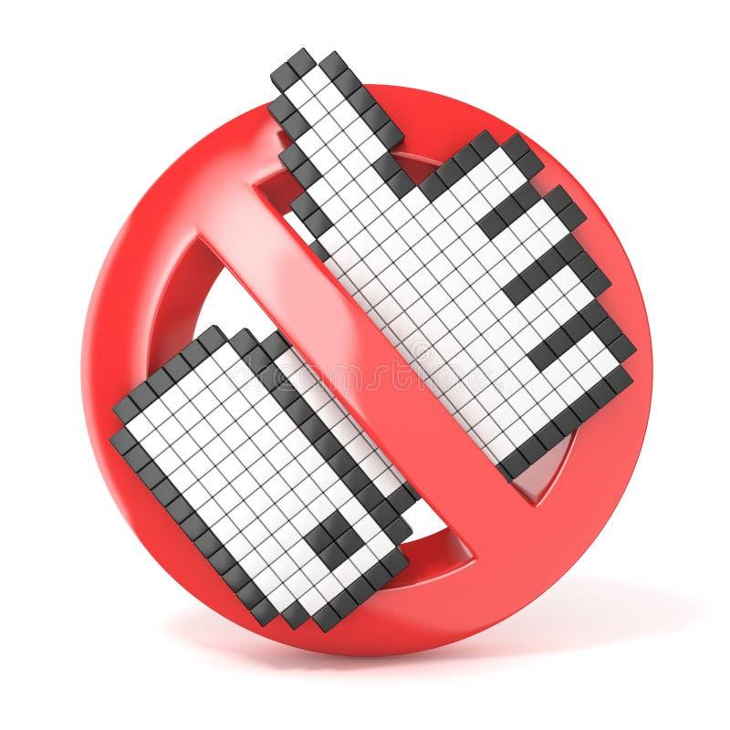 Sinal proibido com cursor como Conceito do desagrado 3d rendem ilustração do vetor