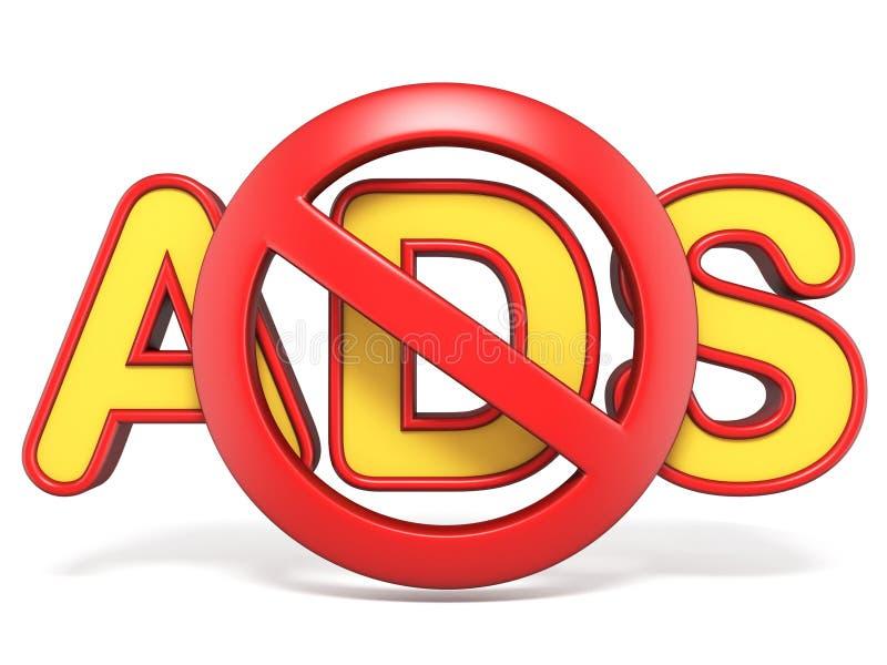 Sinal proibido com texto 3D do ADS ilustração do vetor