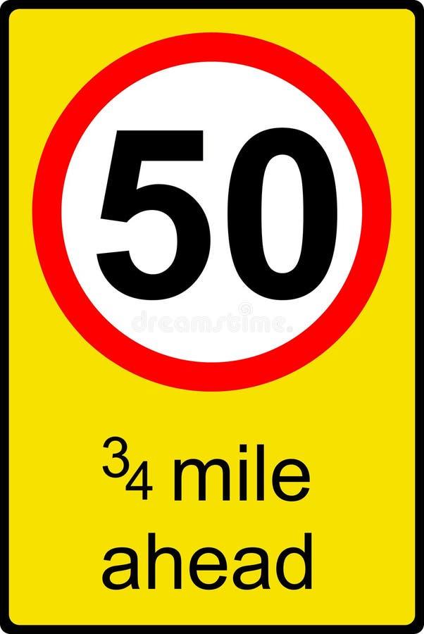 Sinal provisório do limite de velocidade adiante ilustração do vetor