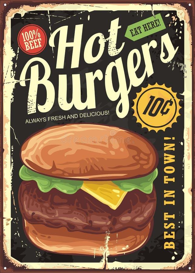 Sinal quente do restaurante do vintage dos hamburgueres ilustração royalty free