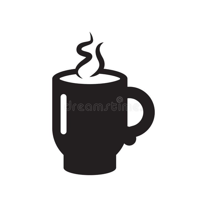 Sinal quente e símbolo do vetor do ícone da xícara de café isolados no fundo branco, conceito quente do logotipo da xícara de caf ilustração royalty free