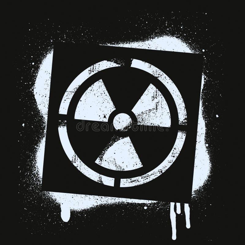 Sinal radioativo do estêncil Perigo de radiação Cópia branca dos grafittis no fundo preto Arte da rua do projeto do vetor ilustração royalty free