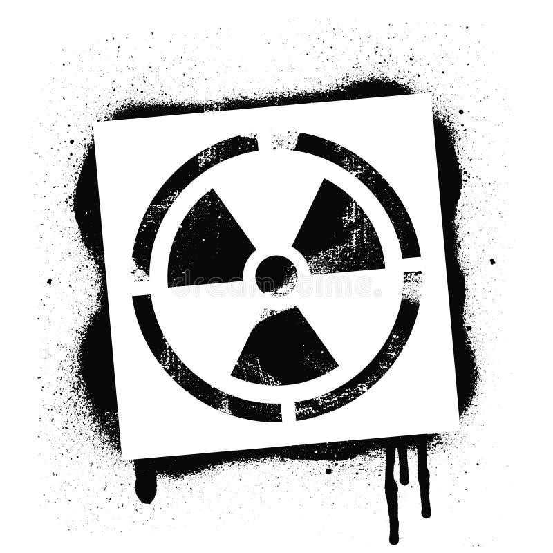 Sinal radioativo do estêncil Perigo de radiação Cópia preta dos grafittis no fundo branco Arte da rua do projeto do vetor ilustração do vetor